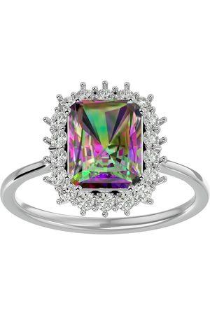 SuperJeweler 2 1/3 Carat Mystic Topaz & Halo 18 Diamond Ring in 14K (3.70 g)