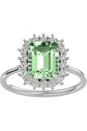 SuperJeweler Women Rings - 2 1/3 Carat Green Amethyst & Halo 18 Diamond Ring in 14K (3.70 g)