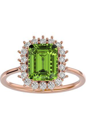 SuperJeweler Women Rings - 2 3/4 Carat Peridot & Halo 18 Diamond Ring in 14K (3.70 g)