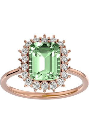SuperJeweler 2 1/3 Carat Green Amethyst & Halo 18 Diamond Ring in 14K (3.70 g)