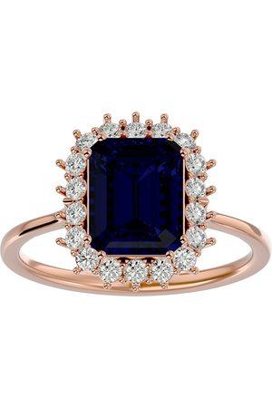 SuperJeweler 3 1/5 Carat Sapphire & Halo 18 Diamond Ring in 14K (3.70 g)