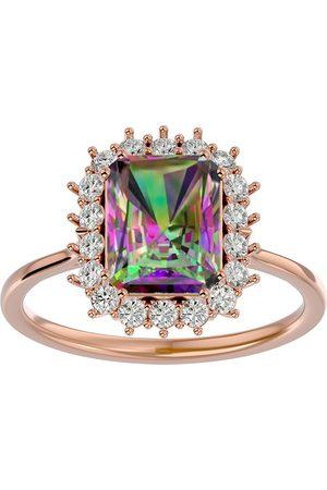 SuperJeweler Women Rings - 2 1/3 Carat Mystic Topaz & Halo 18 Diamond Ring in 14K (3.70 g)