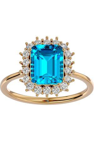 SuperJeweler 3 Carat Blue Topaz & Halo 18 Diamond Ring in 14K (3.70 g)