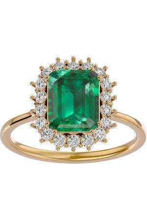 SuperJeweler 2.5 Carat Emerald Cut & Halo 18 Diamond Ring in 14K (3.70 g)