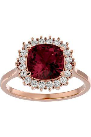 SuperJeweler Women Rings - 3 1/2 Carat Cushion Cut Garnet & Halo 20 Diamond Ring in 14K (4 g)