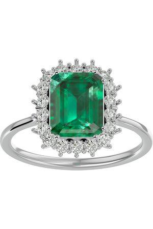 SuperJeweler Women Rings - 2.5 Carat Emerald Cut & Halo 18 Diamond Ring in 14K (3.70 g)
