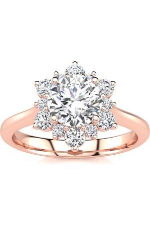 SuperJeweler Women Rings - 1 Carat Floral Halo Diamond Engagement Ring in 2.4k (3.60 g)™ (
