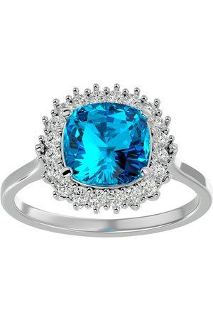 SuperJeweler 3 Carat Cushion Cut Blue Topaz & Halo 20 Diamond Ring in 14K (4 g)