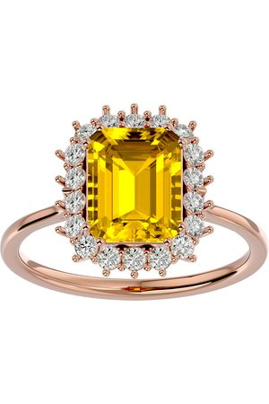 SuperJeweler Women Rings - 2 1/3 Carat Citrine & Halo 18 Diamond Ring in 14K (3.70 g)