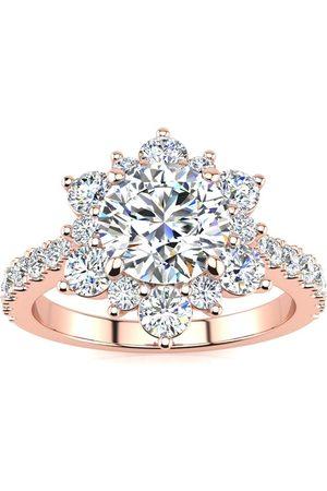 SuperJeweler 1 Carat Round Shape Halo Diamond Engagement Ring in 2.4K (3.60 g)™ (