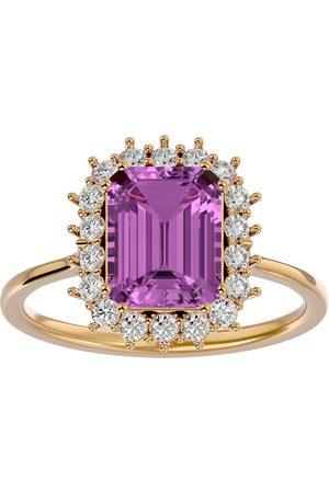 SuperJeweler Women Rings - 3 Carat Pink Topaz & Halo 18 Diamond Ring in 14K (3.70 g)