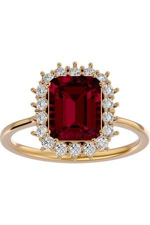 SuperJeweler Women Rings - 3 1/5 Carat Ruby & Halo 18 Diamond Ring in 14K (3.70 g)
