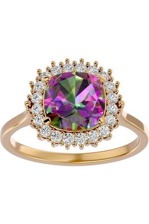 SuperJeweler Women Rings - 2.5 Carat Cushion Cut Mystic Topaz & Halo 20 Diamond Ring in 14K (4 g)