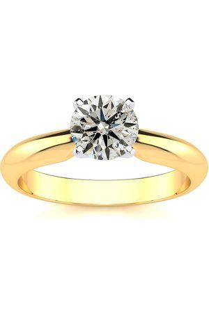 SuperJeweler Women Rings - 1 Carat Round Diamond Solitaire Ring in 2.4K (2.2 Grams)™ (F-G Color