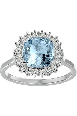 SuperJeweler Women Rings - 2.5 Carat Cushion Cut Aquamarine & Halo 20 Diamond Ring in 14K (4 g)
