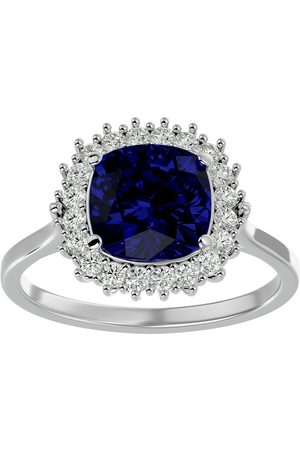 SuperJeweler Women Rings - 3 1/2 Carat Cushion Cut Sapphire & Halo 20 Diamond Ring in 14K (4 g)