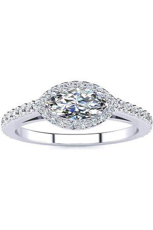 SuperJeweler 3/4 Carat Marquise Shape Halo Diamond Engagement Ring in 2.4 Karat (2.7 g)™ (