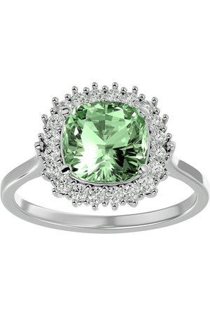 SuperJeweler 2.5 Carat Cushion Cut Green Amethyst & Halo 20 Diamond Ring in 14K (4 g)