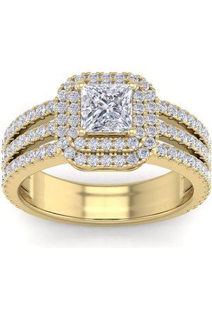 SuperJeweler 2 Carat Princess Cut Double Halo Diamond Engagement Ring in 2.4 Karat Gold (6.30 g)™ (