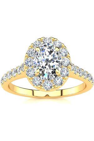 SuperJeweler Women Rings - 1 Carat Oval Shape Halo Diamond Engagement Ring in 2.4 Karat (4.50 g)™ (