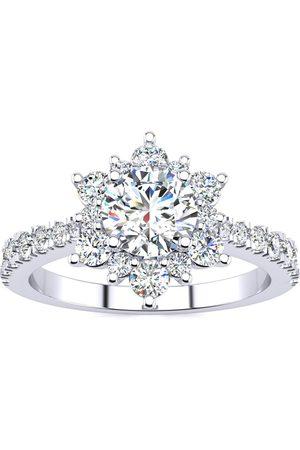 SuperJeweler 2 Carat Round Shape Halo Diamond Engagement Ring in 2.4K (4 g)™ (