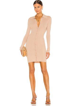RONNY KOBO Cathy Knit Cardigan Dress in Nude.