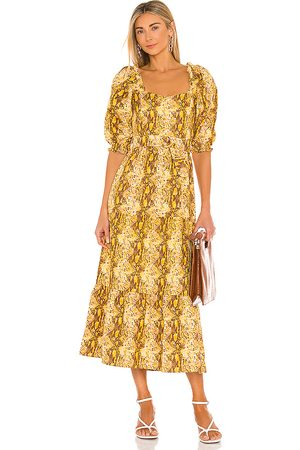 FAITHFULL THE BRAND Rumi Midi Dress in Mustard.