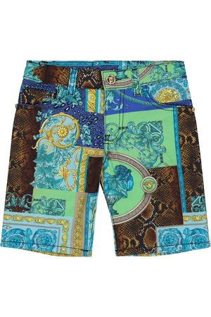 VERSACE Barocco Patchwork stretch-cotton shorts