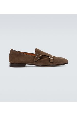 santoni Suede double monk-strap shoes