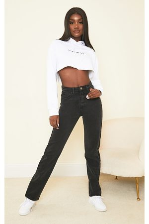 PRETTYLITTLETHING Women Straight - Tall Washed Straight Leg Jeans