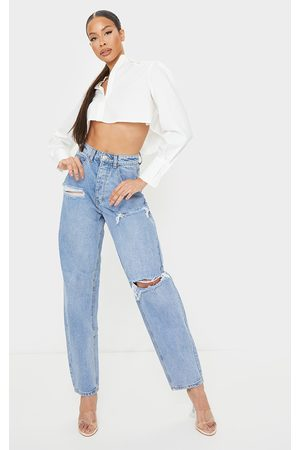 PRETTYLITTLETHING Tall Light Wash Open Knee Boyfriend Jeans