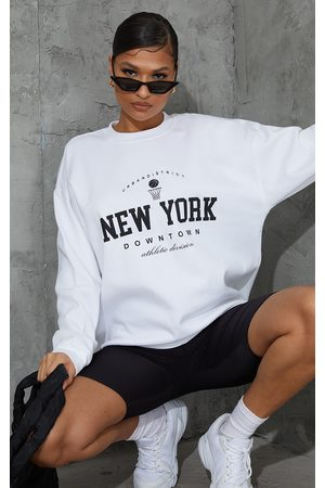PRETTYLITTLETHING Women Sweatshirts - New York Downtown Slogan Printed Sweatshirt