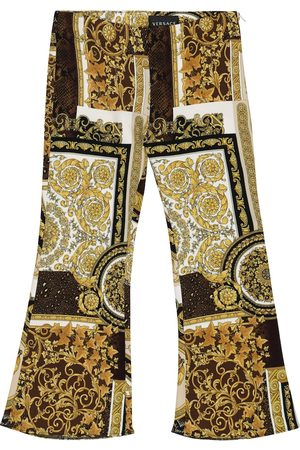 VERSACE Girls Leggings - Barocco Patchwork flared pants