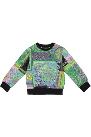 VERSACE Girls Hoodies - Barocco printed cotton sweatshirt