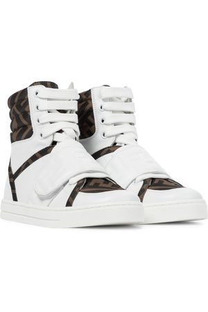 Fendi Logo leather high-top sneakers