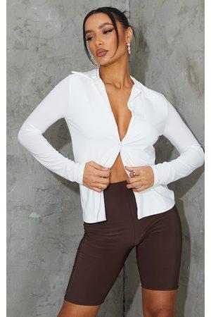PRETTYLITTLETHING Women Long sleeves - Slinky Long Sleeve Shirt