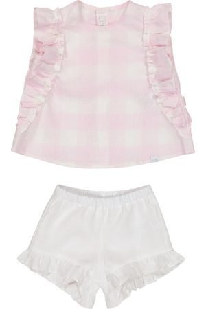 Il gufo Baby linen top and bloomers set