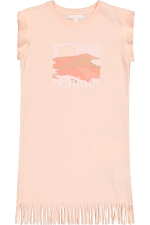 Chloé Girls Casual Dresses - Fringed printed cotton jersey dress