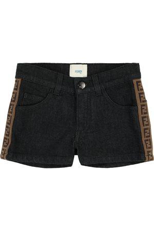 Fendi Girls Shorts - FF stretch-denim shorts