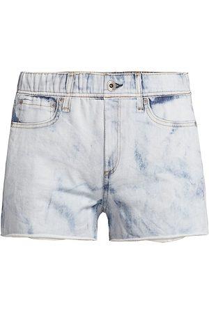 RAG&BONE Women Shorts - Women's Miramar Denim Print Sweatshorts - Oasis - Size Small