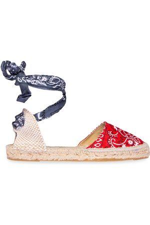 MANEBI Women Espadrilles - Women's Valenciana Bandana Tied Ankle-Strap Espadrilles - Grey - Size 9