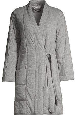 SKIN Women Bathrobes - Women's Stormie Short Quited Robe - Heather Grey - Size Small