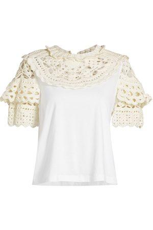 SEA Women T-shirts - Women's Cleo Crochet Puff-Sleeve Combo T-Shirt - - Size Small