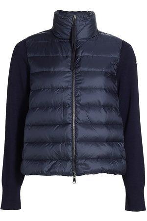 Moncler Women Gilets - Women's Short Down Knit Combo Jacket - Navy - Size Large