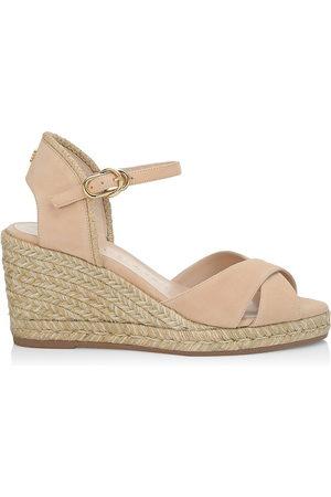 Stuart Weitzman Women Wedges - Women's Mirela Suede Espadrille Wedge Sandals - Adobe - Size 9