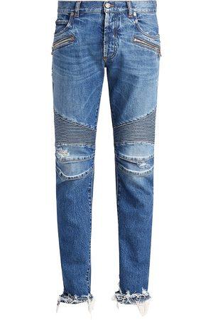 Balmain Men's Ribbed Slim-Fit Moto Jeans - - Size 32