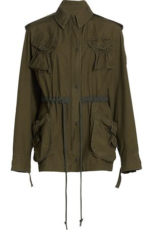 Moncler Genius Women Jackets - Women's 1 Moncler JW Anderson Washed Military Cotton Field Jacket - Olive - Size Small