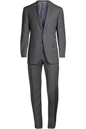 CANALI Men Suits - Men's Tonal Plaid Wool Suit - Dark Grey - Size 50