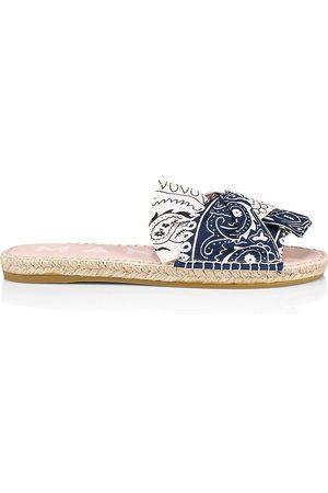 MANEBI Women Espadrilles - Women's Knotted Bandana Espadrille Sandals - Navy - Size 11