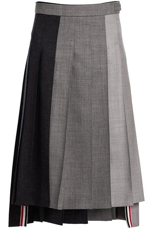 Thom Browne Women Pleated Skirts - Women's Dropped Back Pleated Skirt - Dark Grey - Size 2